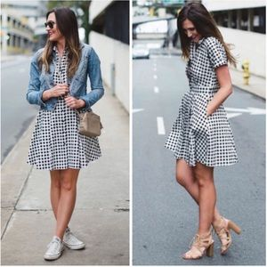 CeCe || Black Gingham Check Fit & Flare 14